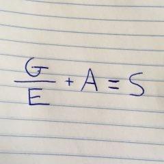 G (gratitude) divided by E (entitlement) plus A (action) equals S (success)