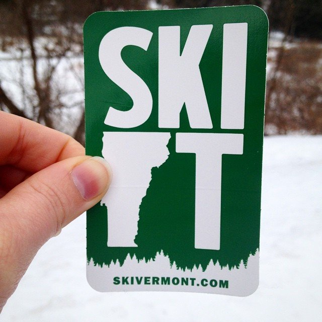 a stock sized vinyl sticker custom made by Websticker for Ski Vermont