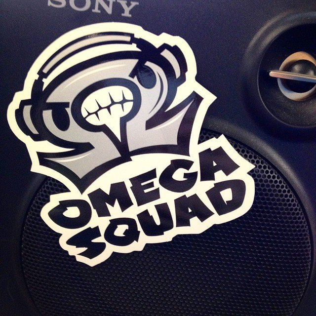 Custom diecut screen printed stickers for Omega Squad made by Websticker