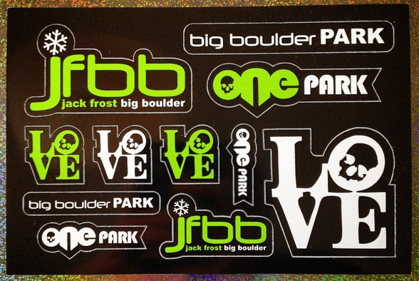 custom vinyl sticker sheet made for Big Boulder by Websticker