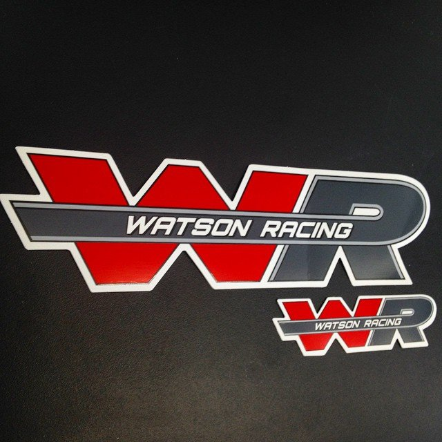 Custom die cut screen printed stickers for Watson Racing made by Websticker