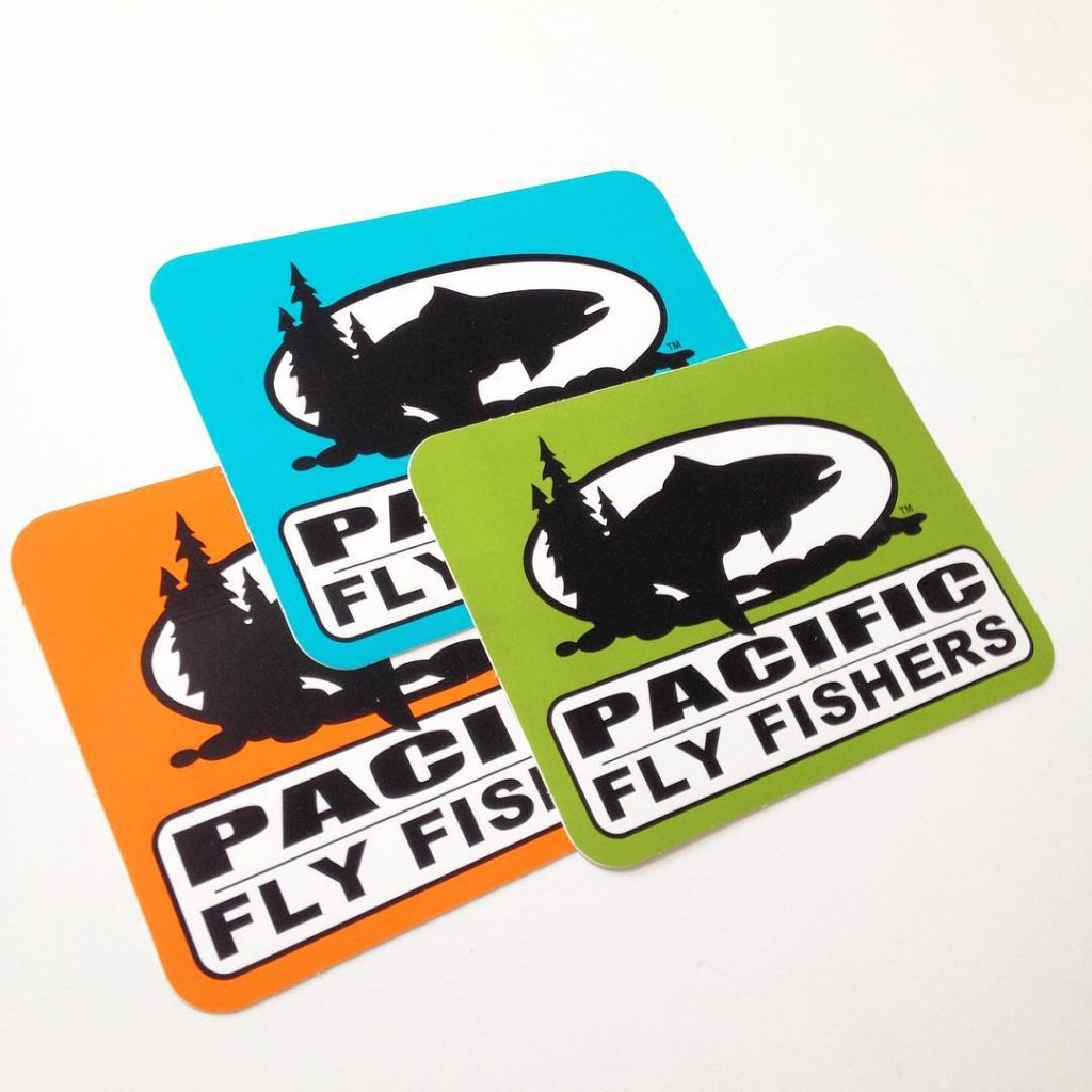 3 sample custom stickers made for Pacific Fly Fishers by Websticker