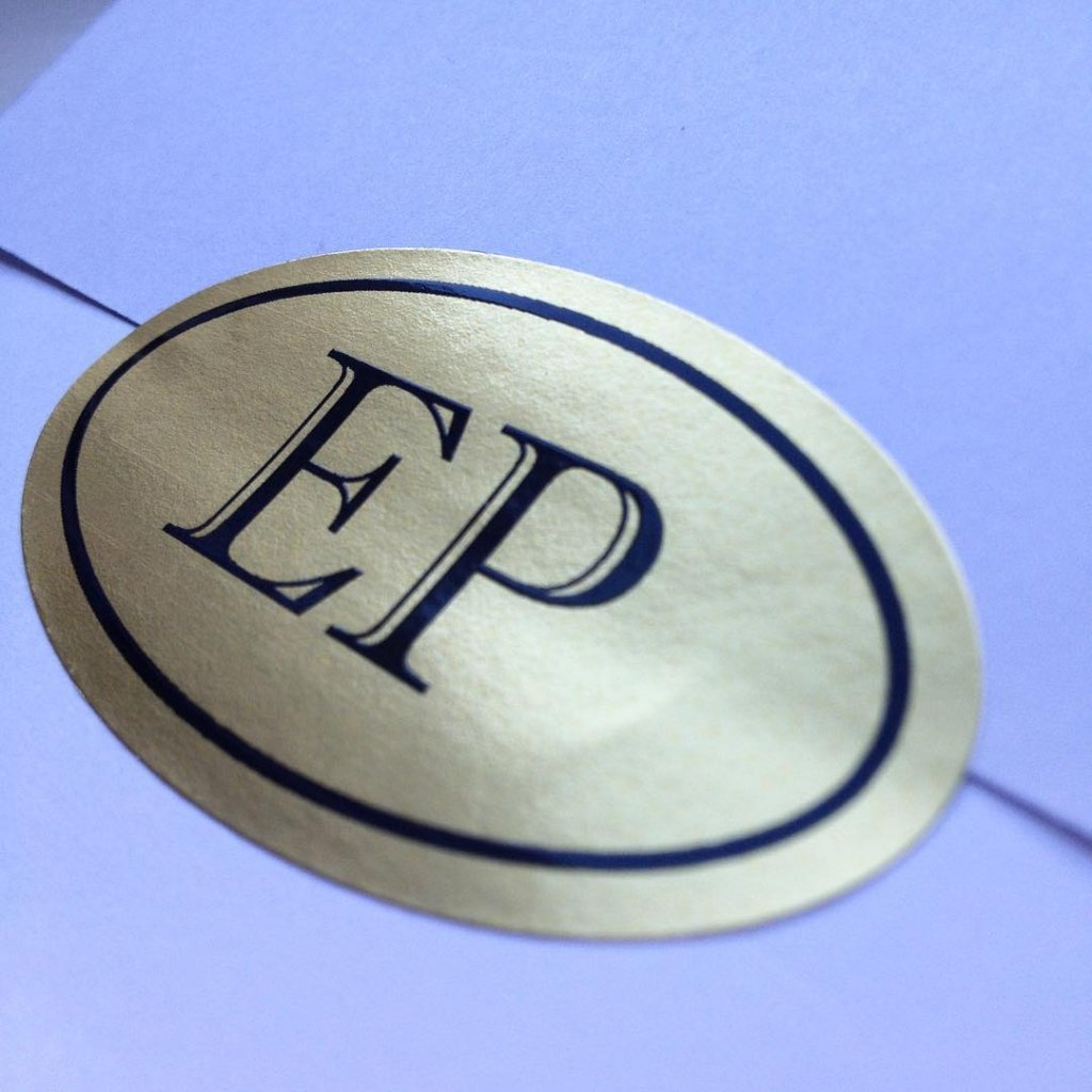 custom printed oval roll label - EP envelope seal made by websticker