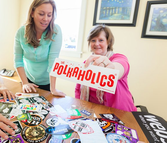 custom bumper stickers wholesale for the polkaholics made by websticker