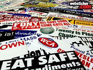 pile of many bumper stickers custom printed by websticker