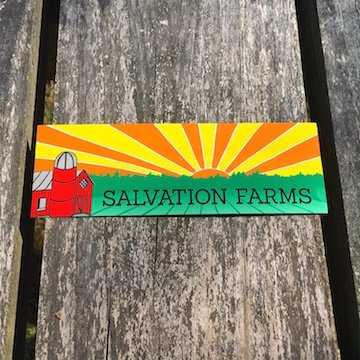 Full color custom bumper stickers made for Salvation Farms in bulk by Websticker