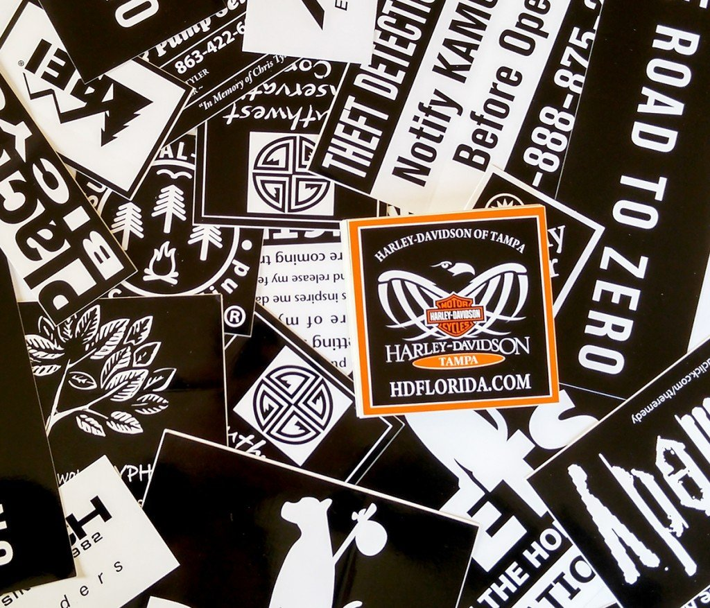 pile of stock square custom vinyl stickers made by websticker