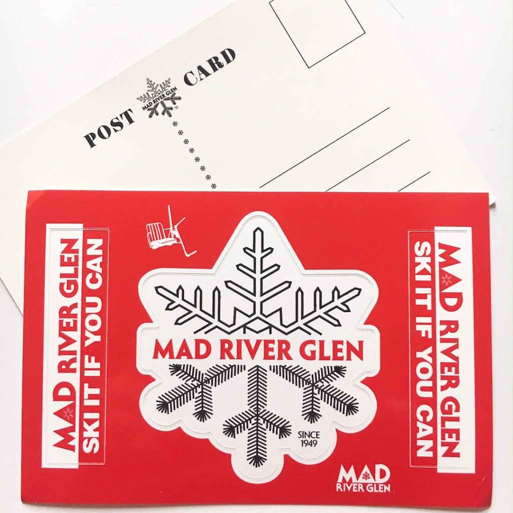 Custom postcard stickers printed by Websticker For Mad River Glen Ski Area