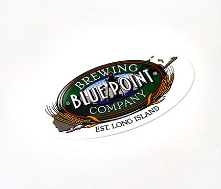 custom oval roll label stickers made for Blue Point printed by websticker