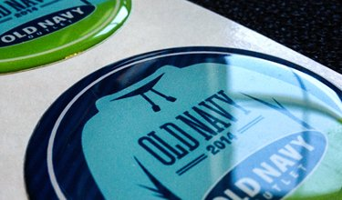 round epoxy domed stickers for Old Navy by Websticker