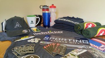 An assortment of custom printed promotional products available from Websticker