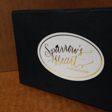 Foil stamped roll labels produced by Websticker for Sparrow's Heart