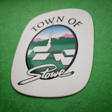 Custom printed hard hat sticker for Town Of Stowe by Websticker