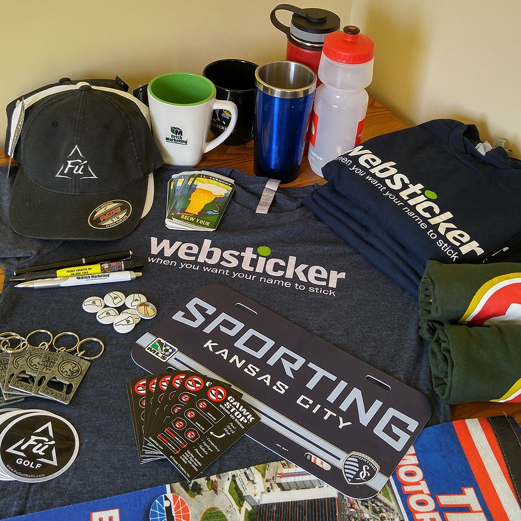 Assorted branded promo products produced by Websticker in Vermont