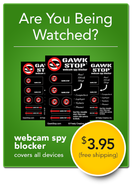 ad for Gawk Stop webcam blocker covers
