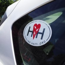 Vinyl oval sticker custom made by Websticker for Healing Haiti