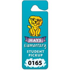Custom printed plastic hanging parking permit made by Websticker