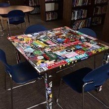Check out this sticker table in Stowe High library! Looks like local students are just as excited about stickers as we are.
