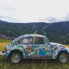 Sneak peek of something fun we've been working on! ✌️ #stickermobile #stowemt #vermont #stickers #branding #marketing #vw #vwbug