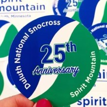 Stickers make great souvenirs for special events! Love all of these designs, @spiritmtduluth! 👍 . . #snocross #anniversary #mountain #ski #snowboard #event #promotional #stickers #marketing #guerillamarketing