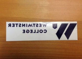 Westminster college static window decals on the backing paper