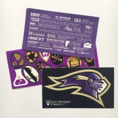 A custom vinyl sticker sheet with back copy produced by Websticker for St. Michaels College