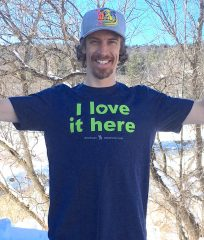 "@nedsayz t-shirt that says ""I love it here"" made and sold by websticker"