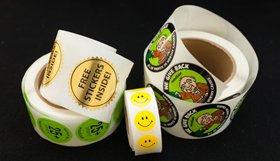 samples of custom roll labels and stickers with printing by websticker