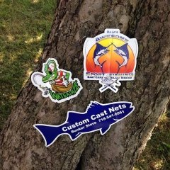 samples of effective die-cut fishing stickers
